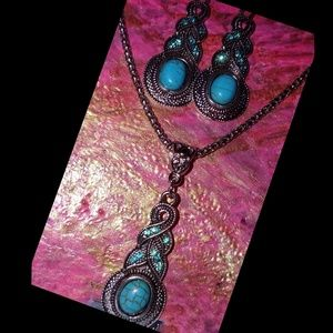 Turquoise Raindrop Set In A Boho Chic Style